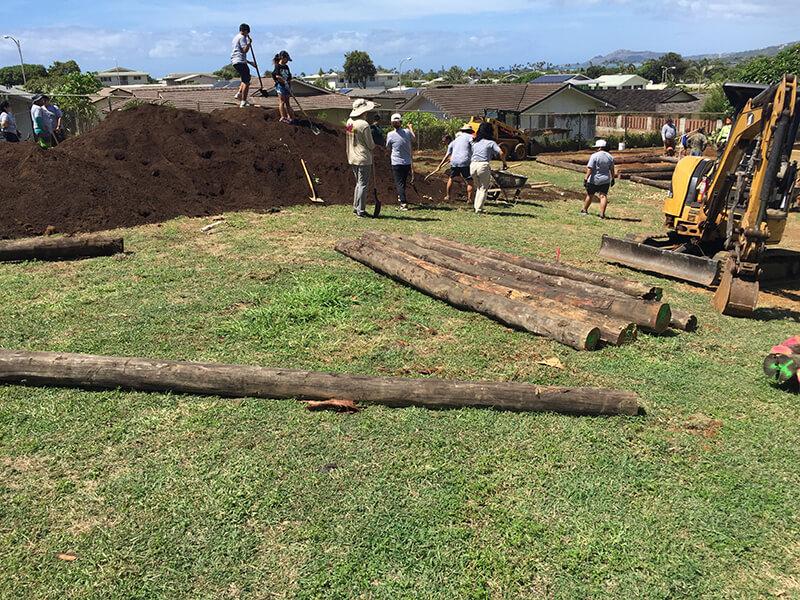 workers building garden