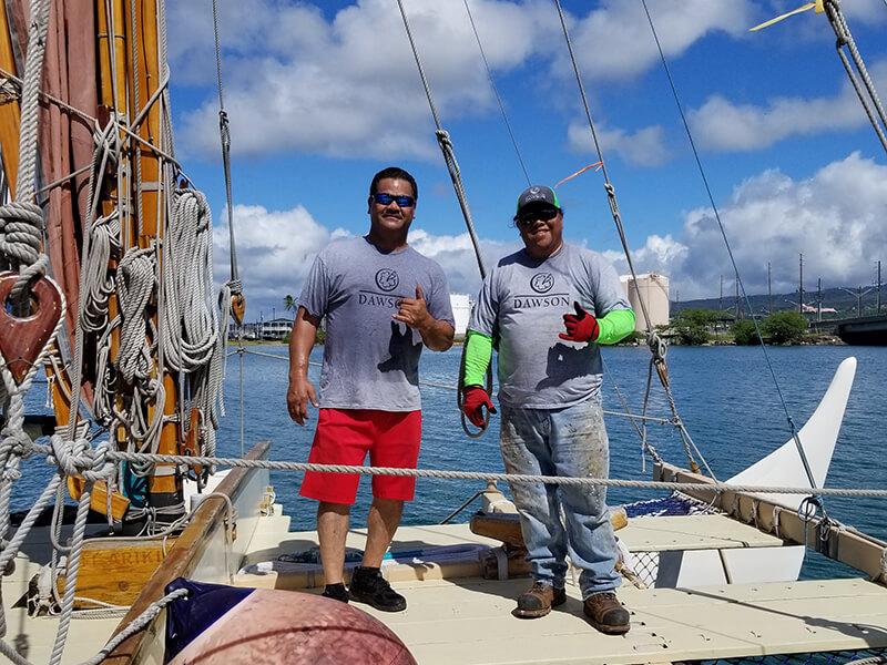 DAWSON volunteers aboard Hōkūleʻa